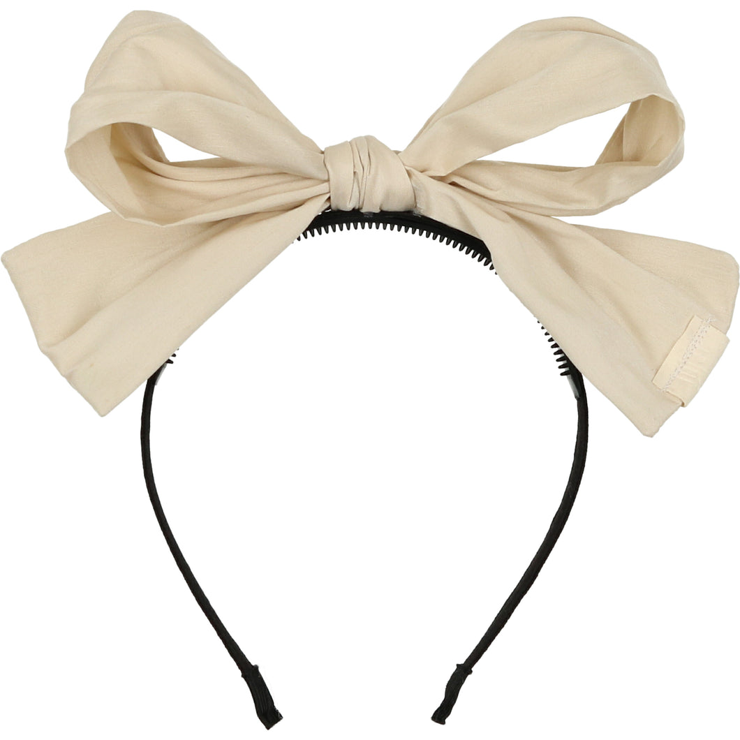 Ivory Silk Taffeta Party Bow Headband