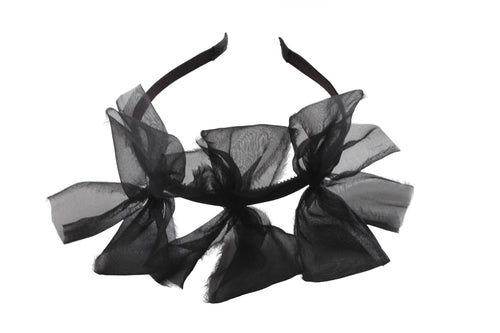 Sheer Black Meringue Triple Bow Headband
