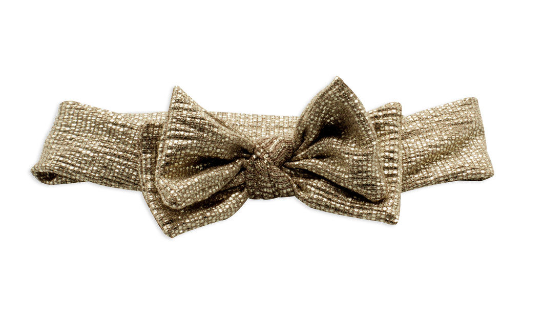 Rose Gold Metallic Layer Bow Baby Band