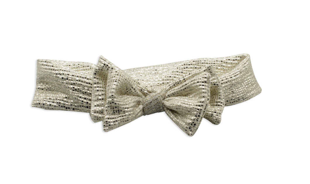 Silver Metallic Layer Bow Baby Band