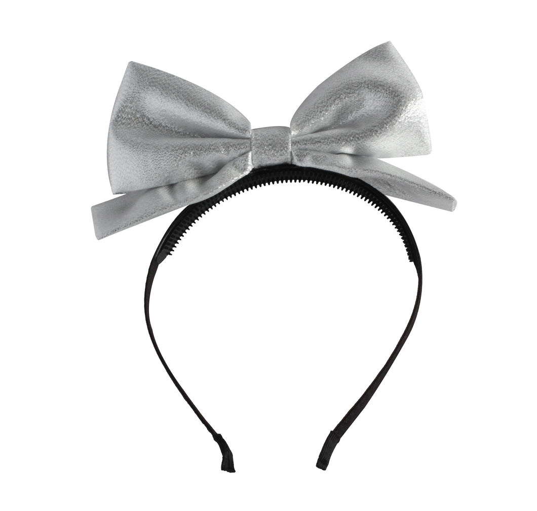Silver Dolly Bow Headband