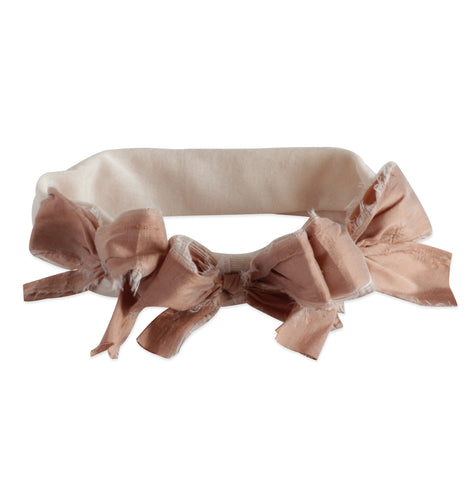 Peachy Rose Silk Triple Bow Baby Band