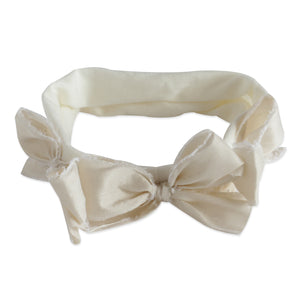 Ivory Silk Triple Bow Baby Band