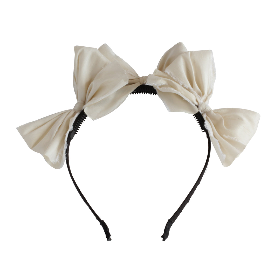 Ivory Silk Triple Bow Headband