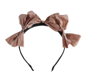 Peachy Rose Silk Triple Bow Headband