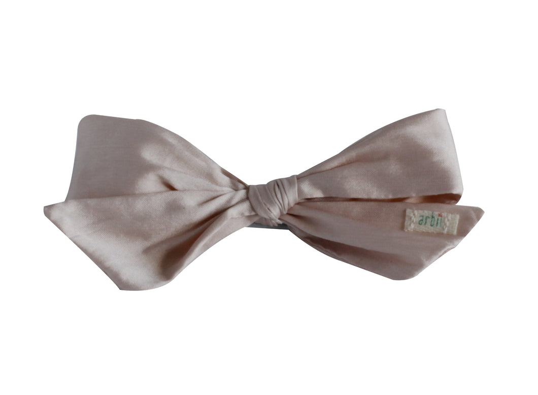 Pale Pink Silk Taffeta Mini Bow Clip