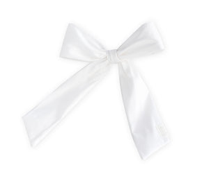 White Silk Taffeta Oversized Bow Clip