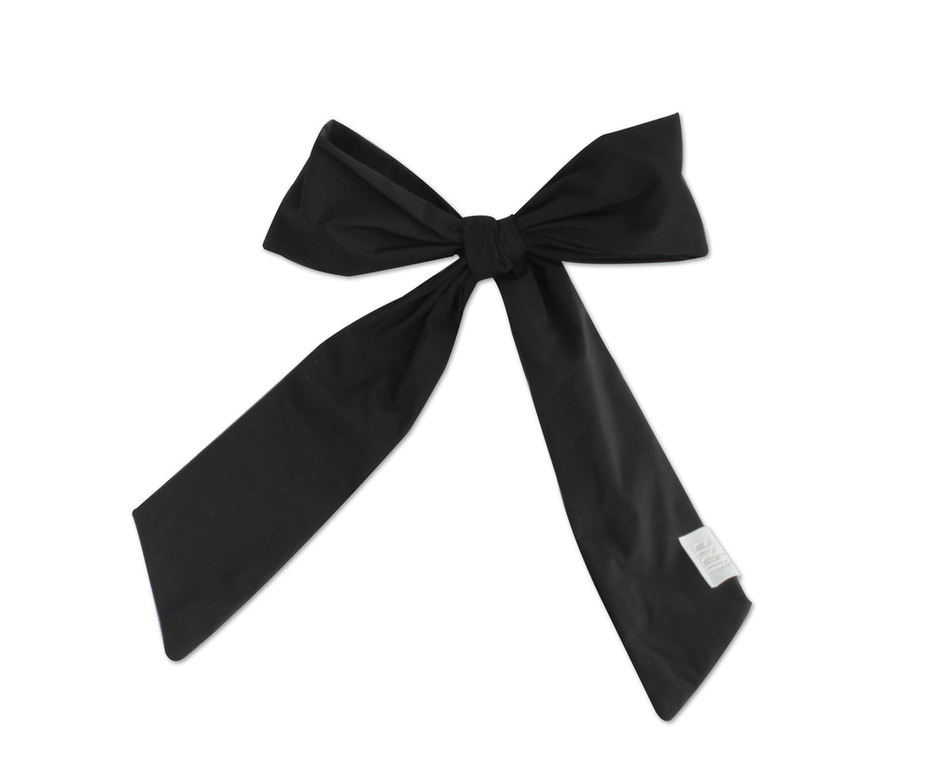 Black Silk Taffeta Oversized Bow Clip