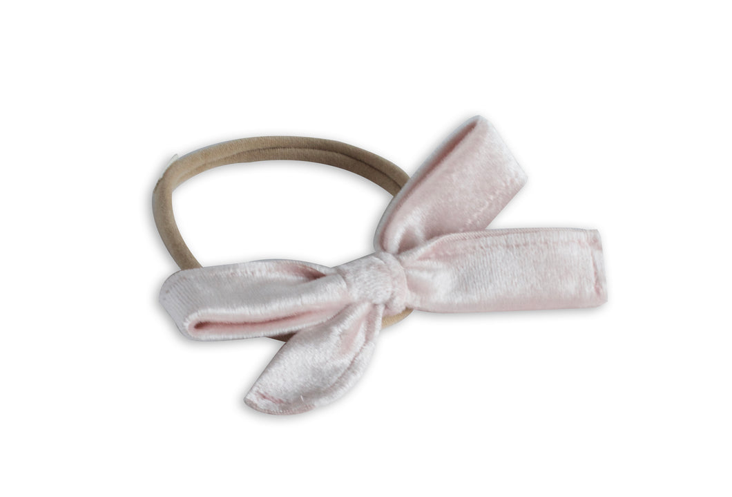 Delicate Pink Velvet Classic Baby Bow