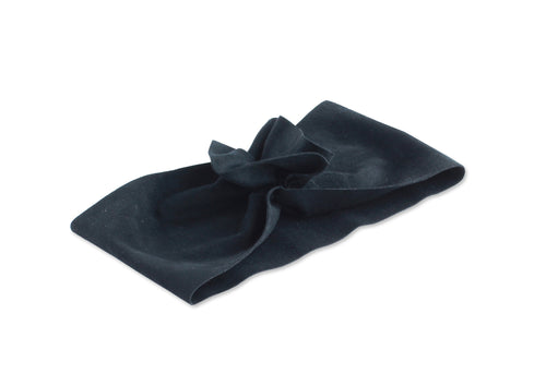 Black Suede Ruffle Turban