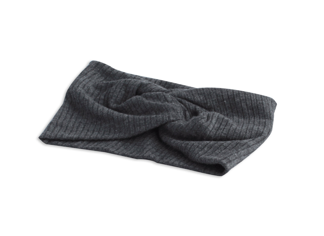Charcoal Grey Twisted Ribbed Turban