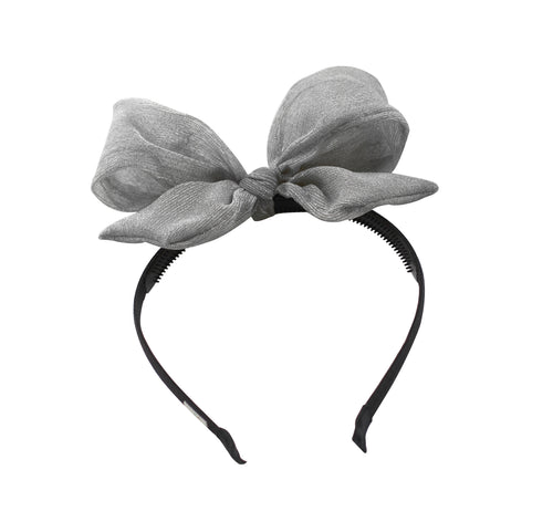 Silver Metallic Bow Headband