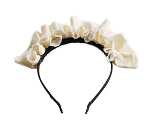 Ivory Silk Ruffled Tiara Headband