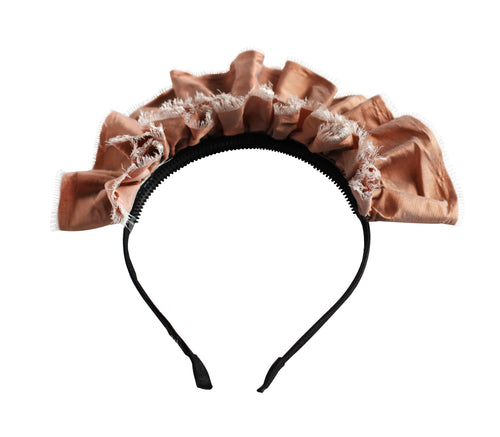 Silk Peach Ruffled Tiara Headband