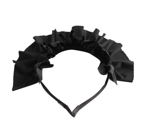 Black Taffeta Ruffled Tiara Headband