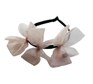 Sheer Pink Meringue Triple Bow Headband