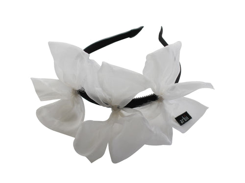 Sheer White Meringue Triple Bow Headband