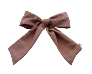 Pink Linen Pony/Side Clip