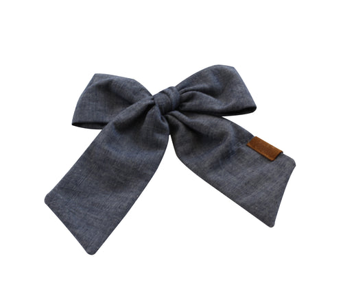 Chambray Denim Pony/Side Clip