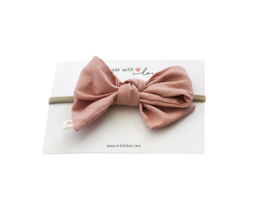 Pink Linen Twist Baby Band