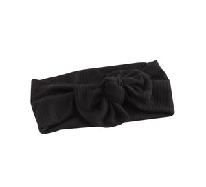 Black Ribbed Bow Turban Baby Band
