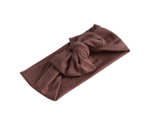 Mauve Ribbed Bow Turban Baby Band