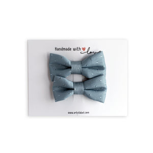 Powder Blue Silk Dot Piggy Clips