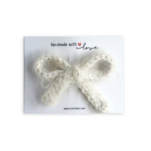 Winter White Mohair Crochet Knit Clip