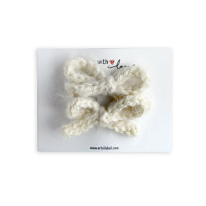 Winter White Mohair Crochet Knit Clips