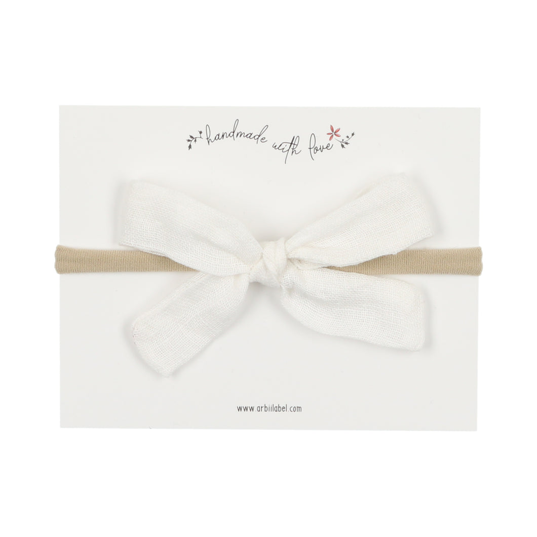 White Linen Mini Bow