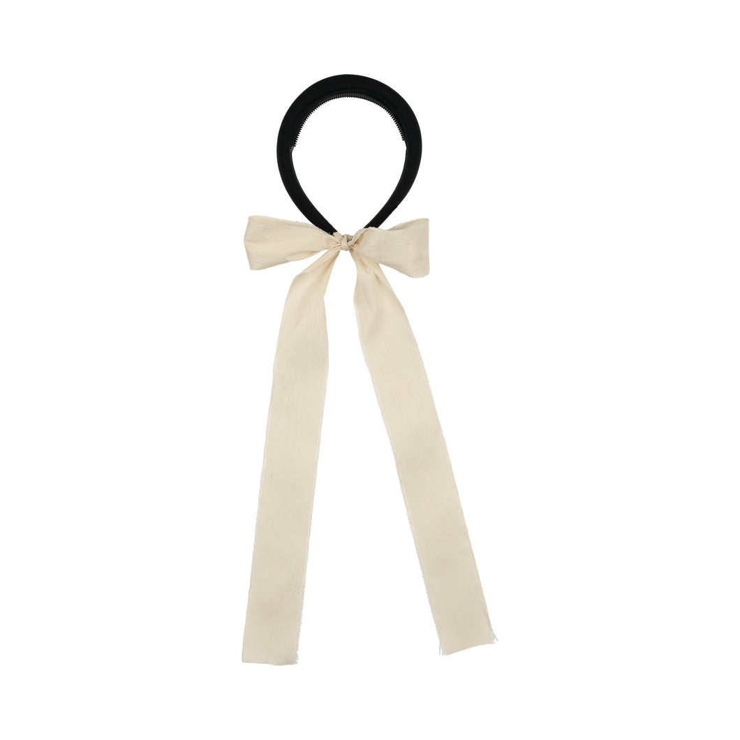 Black/Ivory Padded Headband with Silk Sash