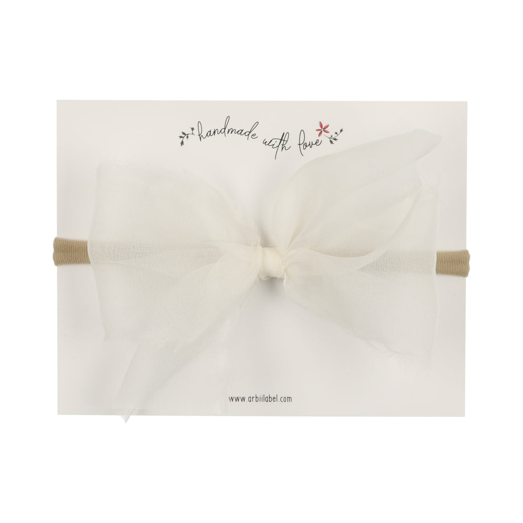 White Sheer Bow Baby Band
