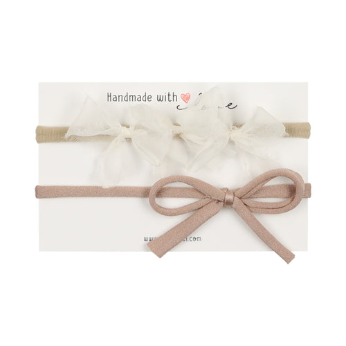 Sheer White Triple Bow/Nude Bow Newborn Gift Set