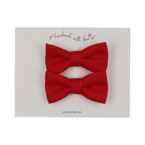 Red Linen Piggy Clips