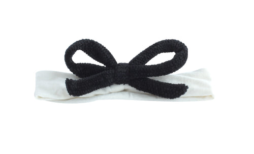 Black on Ivory Chenille Bow Band