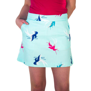 Front view- teal, blue and pink sparrow skort,