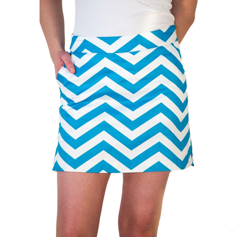 "Font view -teal blue and white chevron skort, ""On the Dance Floor"" by Haute ""Hot"" Shot Golf"