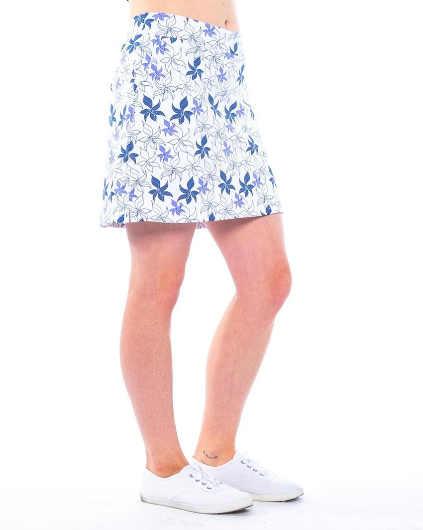 "Performance Stretch Skort front view ""Sky Hibiscus"" by Haute Shot Golf"