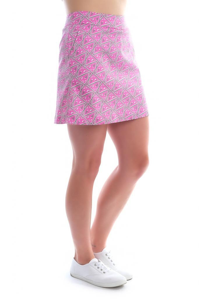 "Classic Cotton Skort side view ""Pink Lighting"" by Haute Shot Golf"