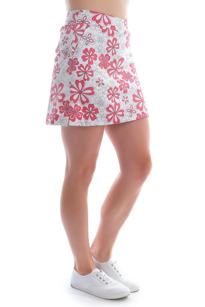 "Tropical red plumeria cotton skort left side view ""Hawaiian Holiday"" - Haute Shot Golf"