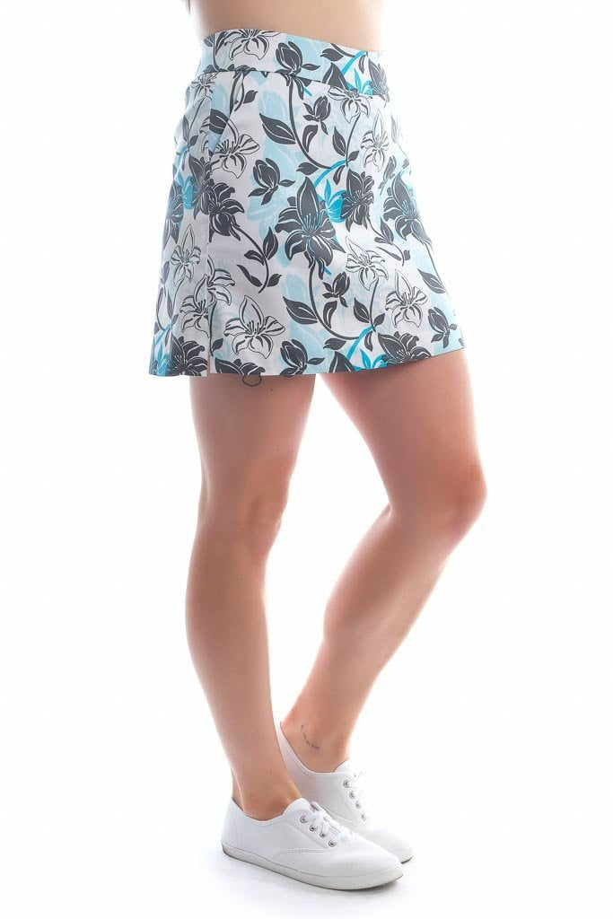 "Blue, white, black hibiscus cotton skort - ""Tropical Approach"" - left side view - Haute Shot Golf"