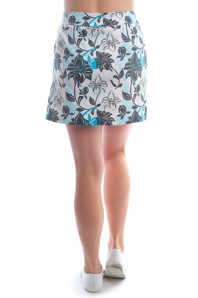 "Blue, white, black hibiscus skort - ""Tropical Approach""- back view - Haute Shot Golf"