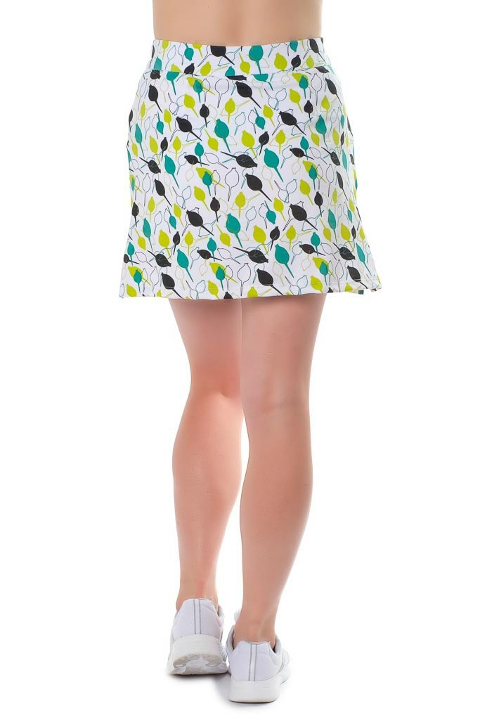 "Poly/blend skort in lime, teal & black closed rosebuds - ""Pinseeker"" back view - Haute Shot Golf"