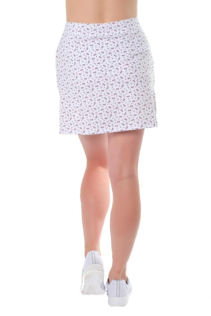 "Ditzy design, violet flower poly/blend skort -  Tiny Dancer"" - back view - Haute Shot Golf"