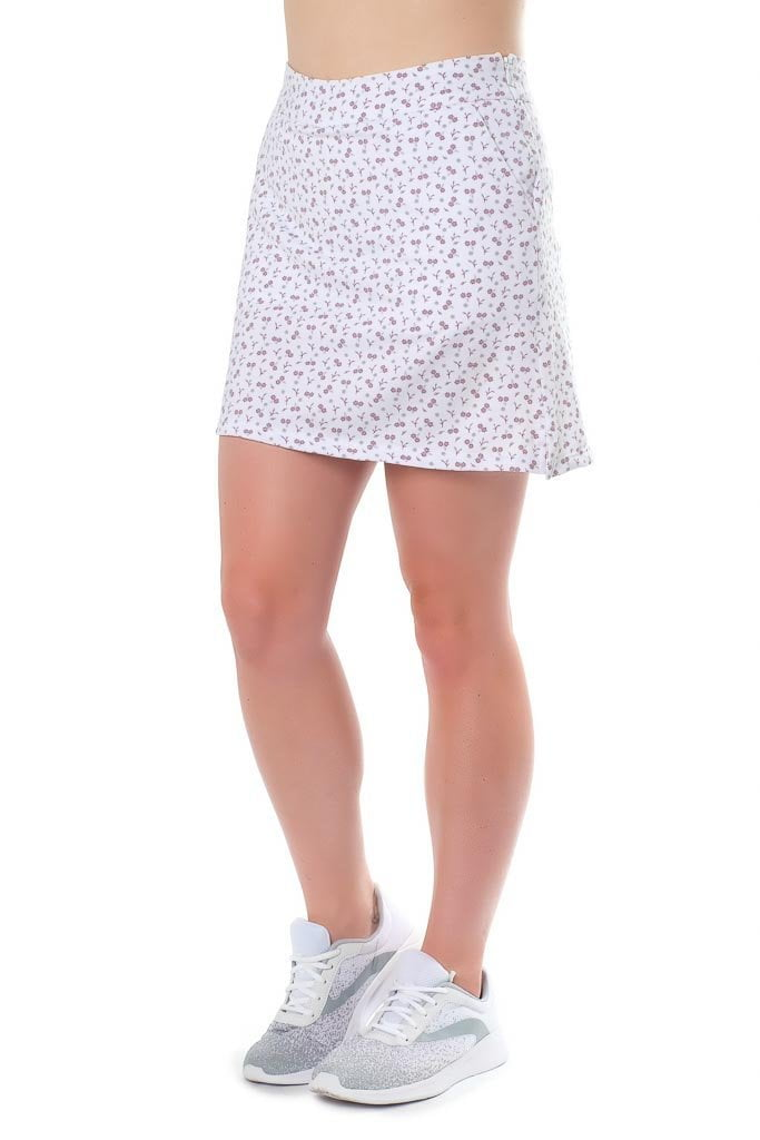 "Ditzy design, violet flower poly/blend skort - ""Tiny Dancer"" - right side view - Haute Shot Golf"