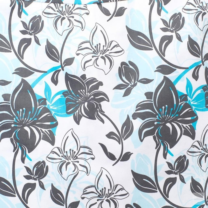 "Blue, white, black hibiscus skort - ""Tropical Approach"" - fabric swatch"
