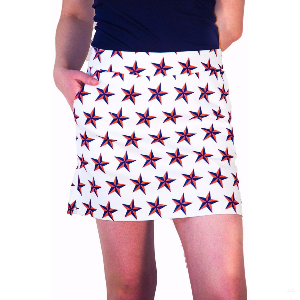 "Front view- white, blue and coral star skort, ""Closest to the Pin Up"" by Haute ""Hot"" Shot Golf"
