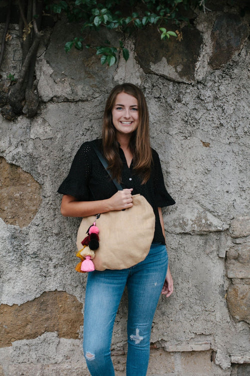 Canvas Tote with Pom Keychain