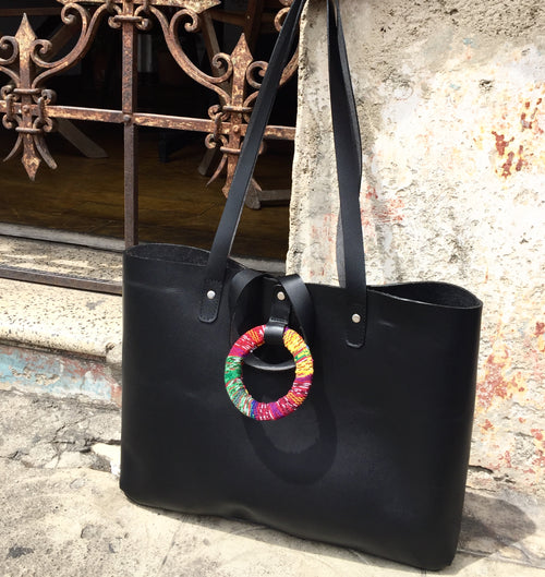 Black Tote Ring Bag