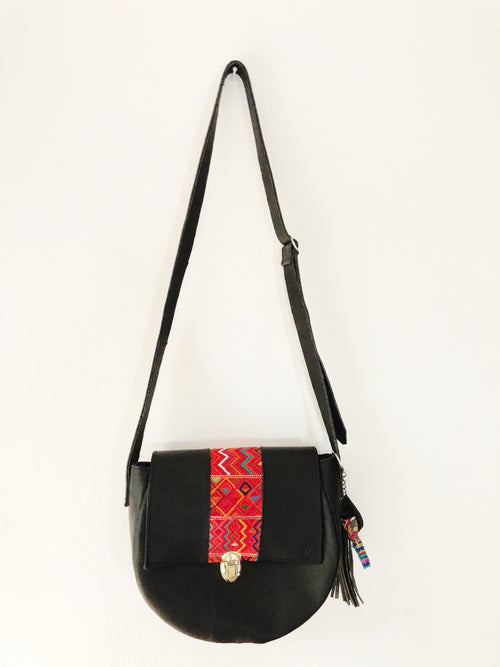 Round Black Cross Body Bag